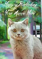 British Shorthair Cat All Occasions Personalised Greeting Card Birthday PIDCAT1
