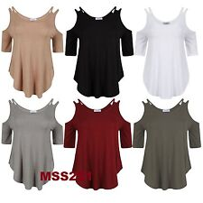 CUT OUT COLD SHOULDER NEW WOMEN'S STRAPPY SHORT SLEEVE DIP CURVE HEM LADIES TOP