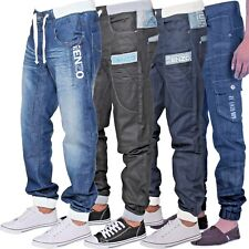 New Mens Designer Enzo Smart Cuffed Leg Casual Denim Jogger Jeans Pants 28-48