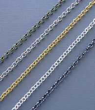 3ft Gold/silver/black Rolo Cable Chains 4mm Link opened Findings Jewelry making