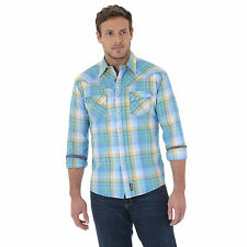Wrangler MVR243M Retro® Spread Collar Plaid Shirt - Blue/Yellow/White - No Tax