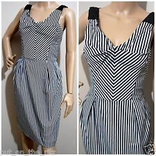 CUE size 8 stretch striped contrast cotton DRESS with pockets & exposed zip