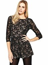 Very/Love Label Sleeves Lace Classic Occassion Pocket Playsuit 18 Black/Nude