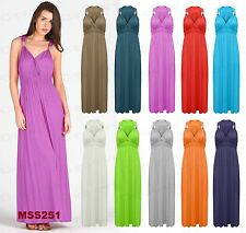 Ladies Summer Stretch Spring Coil Long Jersey Maxi Women's Dress Size Tops 8-16