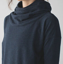 NWT Lululemon Stress Less Hoodie Heathered Navy Blue Sz 4 6 8 10 Terry Pullover