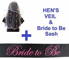 HEN'S PACK: BRIDE TO BE SASH & PENIS VEIL: HENS NIGHT PARTY PINK BRIDAL WEDDING