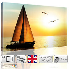SEA SUNSET WITH SAILBOAT - CANVAS WALL ART DIGITAL PRINT PICTURE DECOR QUALITY