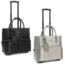 "Cabrelli Pilar Croco Rolling 15"" Laptop Case Women's Bag Wheeled Briefcase"
