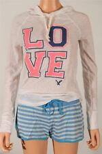 American Eagle Outfitters AEO LOVE Lightweight Hoodie Shirt Womens White New NWT