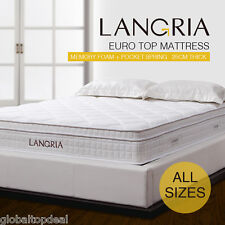 25cm EuroTop Quilted Memory Foam Pocket Spring Mattress Single Double King Queen