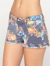 Roxy Blaze Cut Off Shorts Womens Navy Blue Denim Floral Frayed Hems New NWT