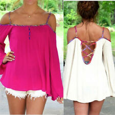Sexy Women Lady Summer Off Shoulder Hollow Long Sleeve Loose T-Shirt Tops Blouse