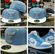 Matching New Era Chicago Bulls fitted cap 5950 hat for Jordan 1 Retro sky blue