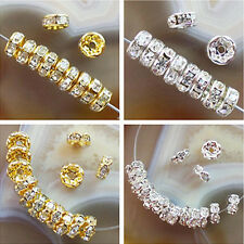 50pcs Plated-gold/silver Rondelle Rhinestone Crystal Spacer Bead GL022