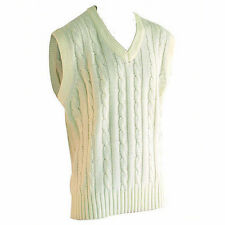READERS PLAIN CREAM CABLE KNIT SLEEVESS CRICKET SWEATER/SLIPOVER.  FREE POSTAGE.