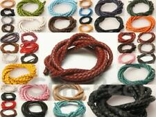 3mm/4mm/5mm/6mm Genuine Leather Hide Braided Lace Rope Cord DIY Jewelry 1m