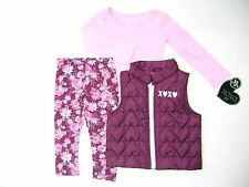 XOXO Girls Toddler 3Pc Puffer Vest, L/Sleeve Top & Legging Set Size 3T 4T