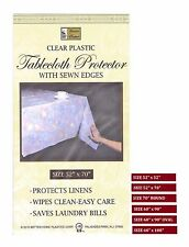 Clear Plastic Tablecloth Protector Lightweight Ease Wipes Clean, with Sewn Edges