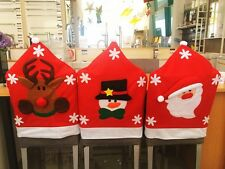 SNOWMAN SANTA ELK DINING CHAIR COVERS CHRISTMAS PARTY / DINNER TABLE DECORATION