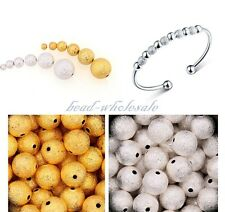 100Pcs Silver&Golden Plated Stardust Copper Ball Spacer Beads 3mm/4mm/5mm/6mm