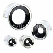 Two Tone Outer Silver Center-Black Stainless Steel Screw Flesh Tunnels Ear Plugs