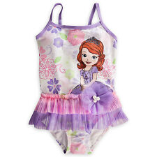 NEW DISNEY STORE SOFIA THE FIRST PRINCESS DELUXE SWIMSUIT GIRLS 1PC FREE SHIP