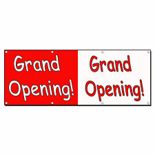 GRAND OPENING HALF WHITE RED CURSIVE 13oz Vinyl Banner Sign