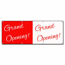 GRAND OPENING HALF RED WHITE CURSIVE 13oz Vinyl Banner Sign