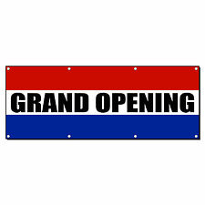 GRAND OPENING RED WHITE BLUE Business 13oz Vinyl Banner Sign