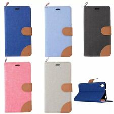 Dual Color Canvas Leather Wallet TPU Case Magnetic Cover For ONEPLUS X 2 TWO