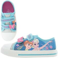 Frozen Perry Disney Canvas Girls Kids Trainers - Blue (Sizes 6,7,8,9,10,11,12)