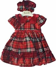 Baby Girls Red & Cream party tartan velvet collar dress with matching hat gift