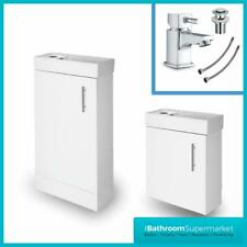 White Gloss Bathroom Vanity Unit Sink Basin Compact Cloakroom Cabinet Basin Tap