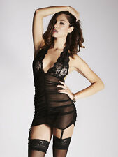 Ann Summers Womens Eloise Black Floral Lace Dress Ladies Underwear Lingerie Sexy