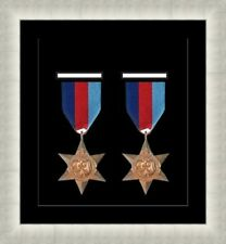 NEW Military War Medal 3D Box Picture Frame Fits 2 Medal- Black Mount Made in Uk