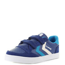 Boys Kids Hummel Stadil Leather Lo Limoges Blue  Leather Trainers Size