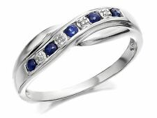 F. Hinds Womens 9ct White Gold Sapphire And Diamond Crossover Half Eternity Ring