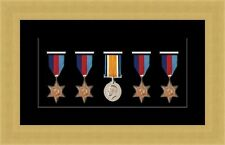 NEW Military War Medal 3D Box Picture Frame Fits 5 Medal- Black Mount Made in Uk