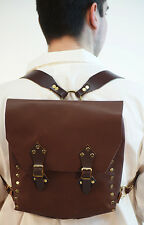 Re enactment-Cos-Play-LARP-SCA- BROWN LEATHER RUCKSACK-BACKPACK One Size