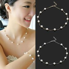 Women Fashion Love Necklace Simple Pearl Gold/Silver Choker Statement Collar