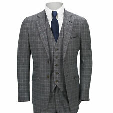 Mens 3 Piece Suit Tweed Grey Check Vintage Herringbone Tailored Fit Smart Jacket