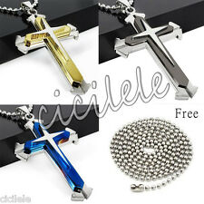 New Unisex's Men Stainless Steel Cross Pendant Necklace Chain Black/Silver/Gold