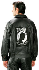 Mens POW MIA Military Bomber Leather Jacket wording You Are Not Forgotten 2005