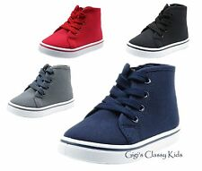 Baby Toddler Boys Canvas High Top Sneakers Tennis Shoes Black Grey Blue Red Kids