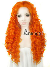 Fashion Sexy Lady Lace Front Wig Orange Purple Long Curly Heat Resistant Hair