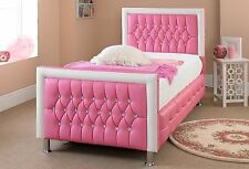 Pink White Luxury Diamante Kids Single Double Faux Leather Bed 3FT 4FT 4FT6 5FT