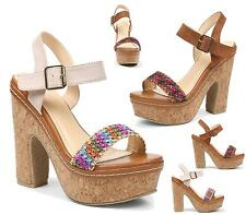 WOMENS LADIES HIGH HEEL CORK PLATFORM ANKLE STRAP PEEP TOE SHOES SANDALS SIZE