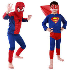 Boys Superhero Spiderman Superman Kids Halloween Costume Fancy Dress With Mask