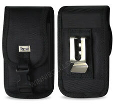 REIKO Canvas Rugged Vertical Metal Belt Clip Case with Buckle for CAT Cell Phone