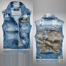 Boys Girls Cowboy Vest Denim Waistcoat Mens Sleeveless Coat Jeans Jacket Fashion